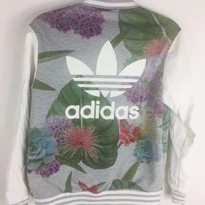 Adidas floral varsity white leather jacket 34